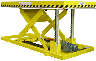 Push chain scissor lift table for very high frequency use and where hydraulics not required